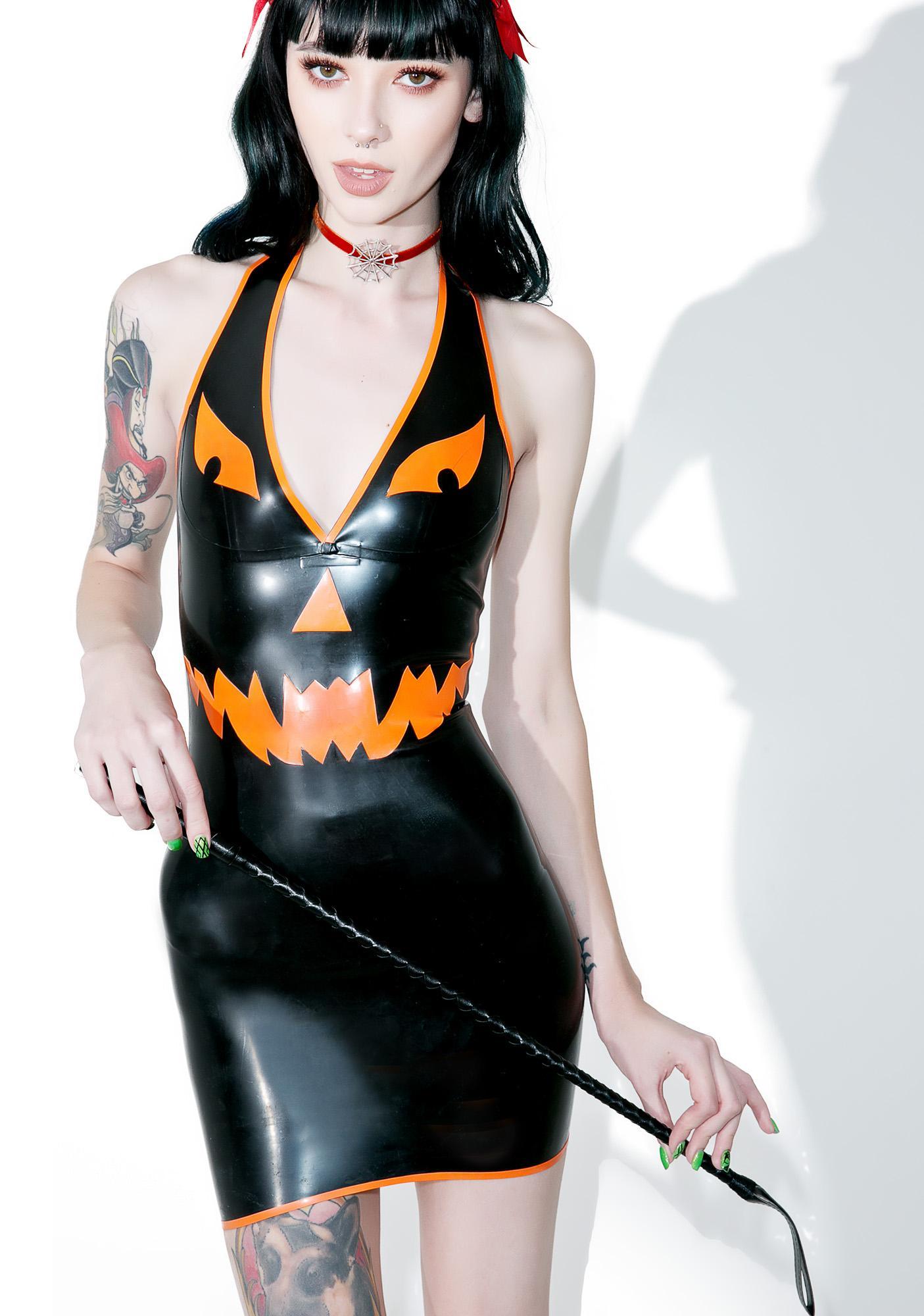 Jane Doe Latex Pumpkin Halter Neck Mini Dress
