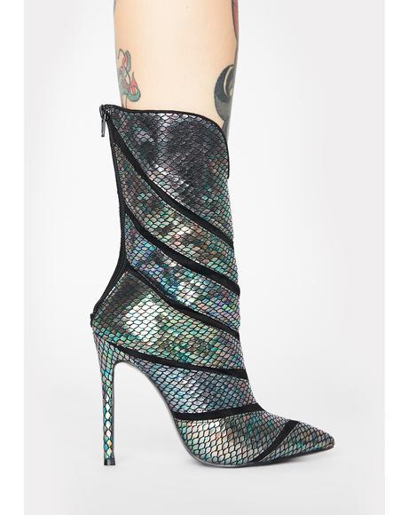 Plushin Metallic Snakeskin Boots