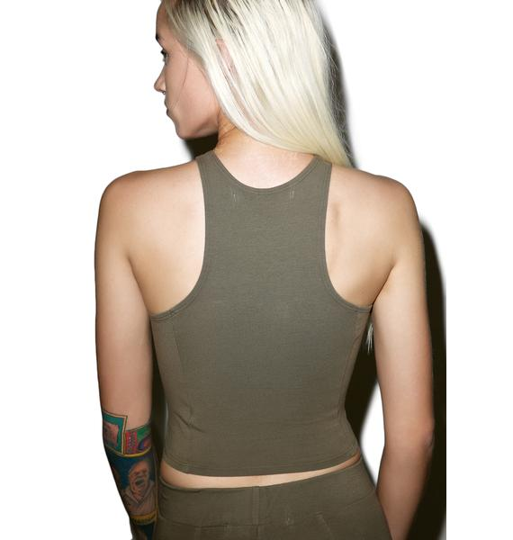 Groceries Apparel Beech Bark Knife Crop Top