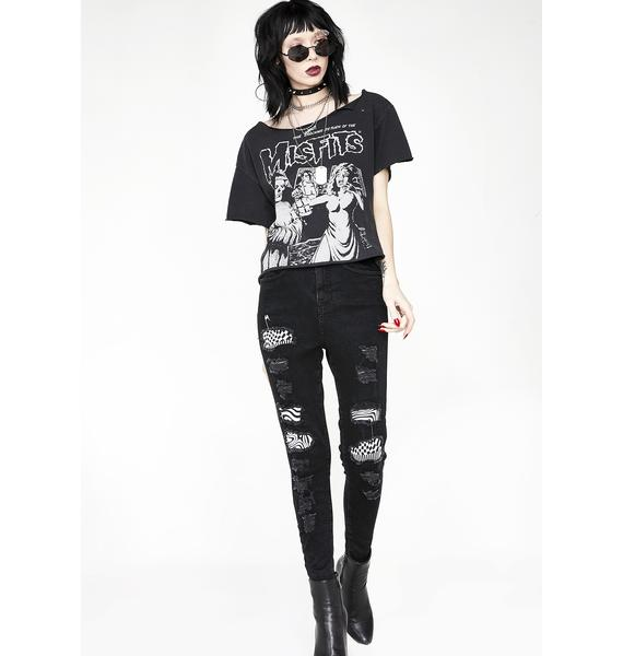 Disturbia Distortion Patched Jeans