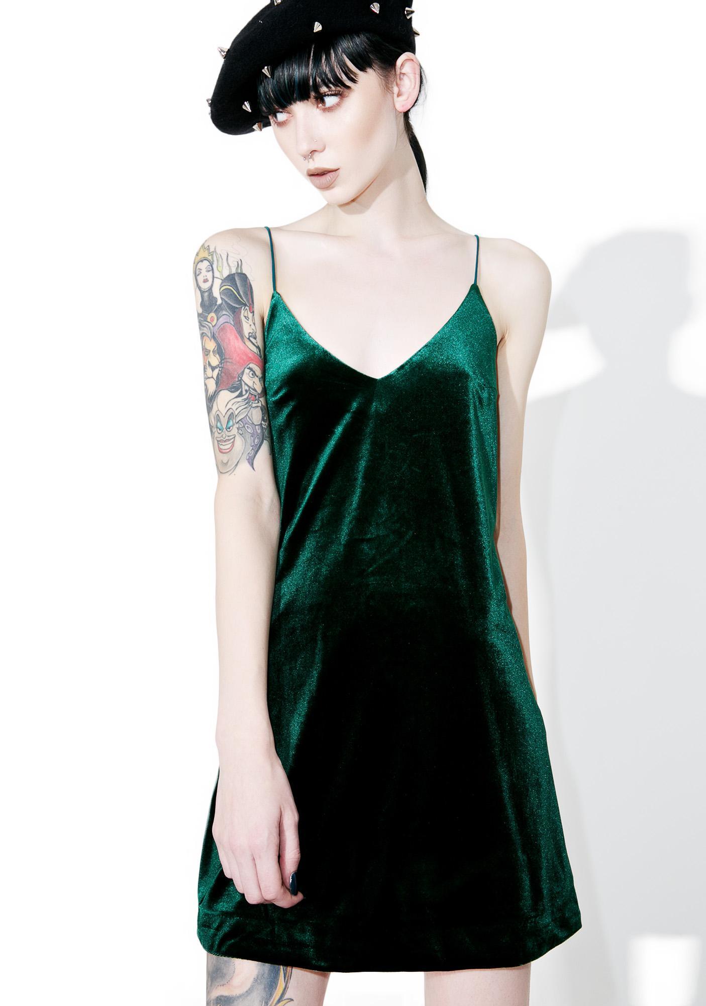 Emerald Vision Velvet Slip Dress