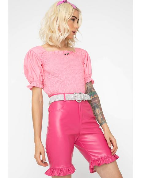 Pink Fake Leather Short Pants