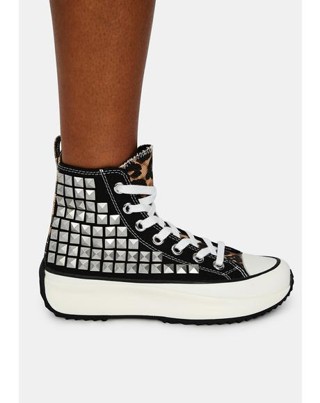 Shaft Studded Platform Sneakers