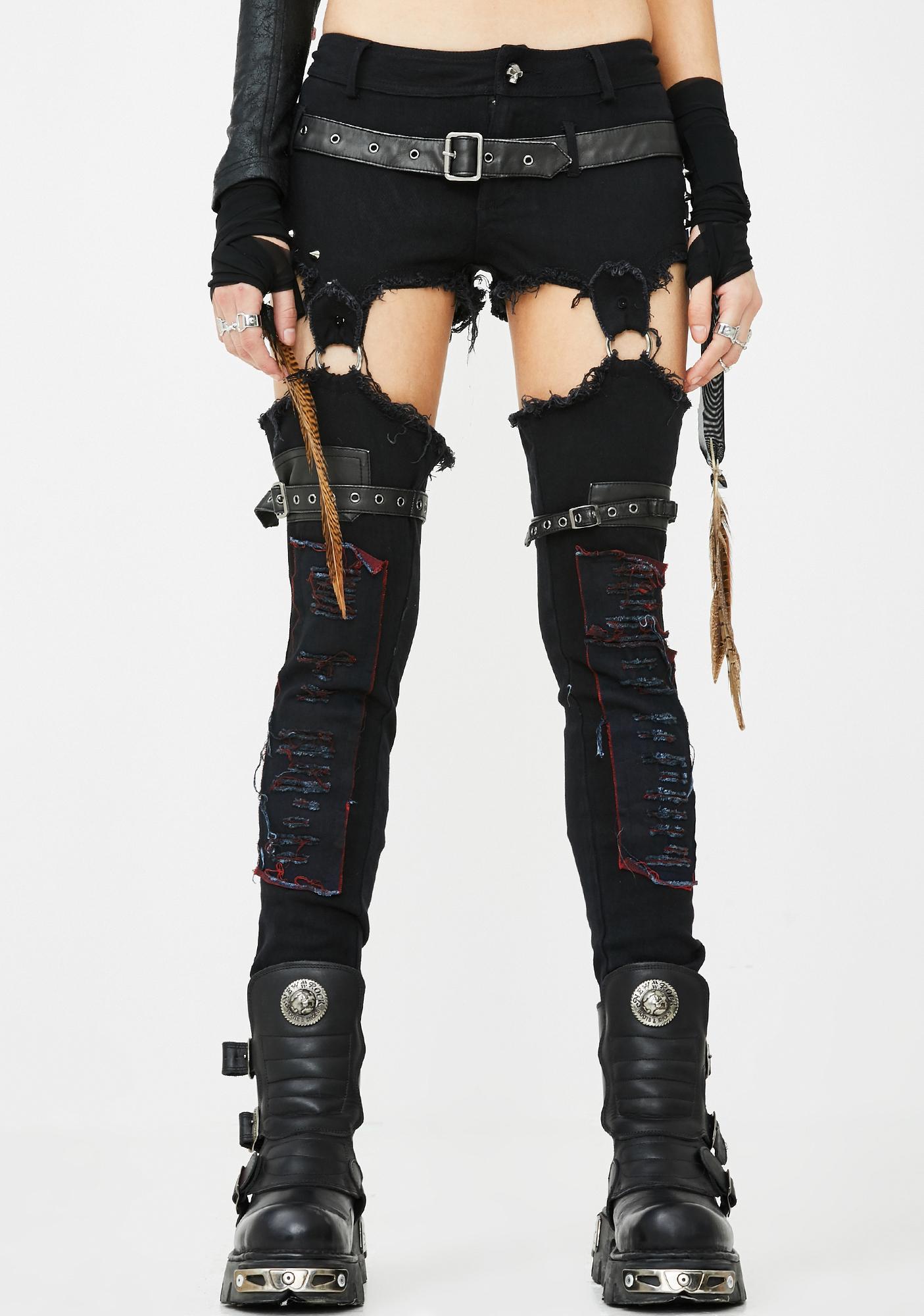 Punk Rave Distressed O-Ring Skinny Pants