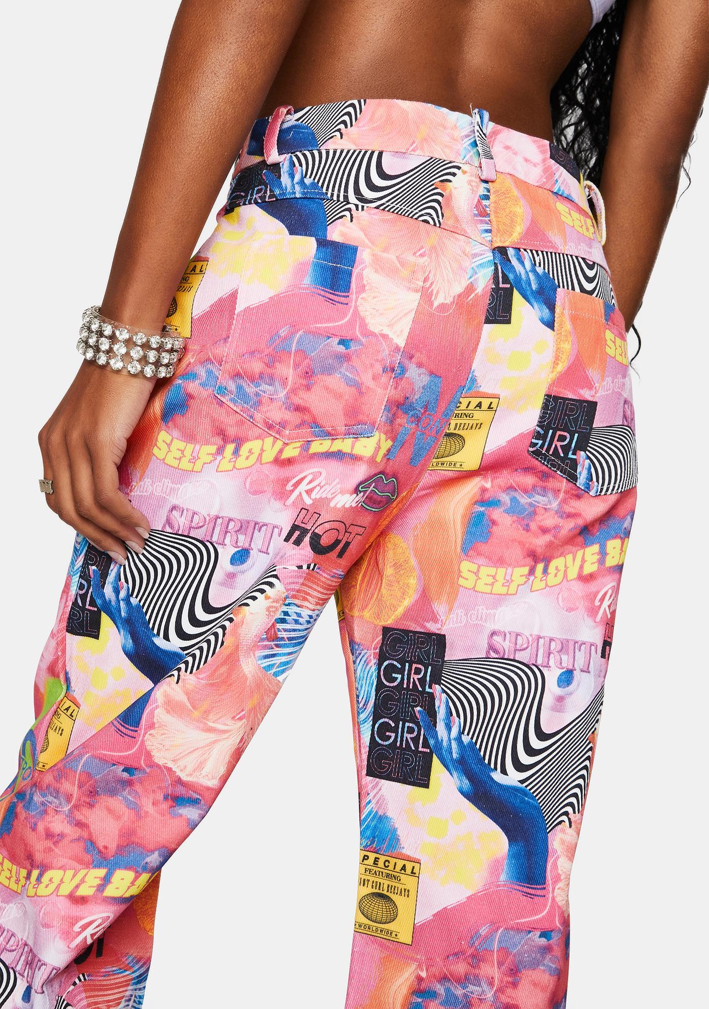 Elsie & Fred Empower Print Baggy Denim Jeans