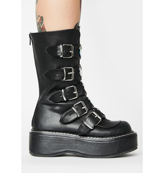 Demonia Matte Dark Heartbreaker Buckle Boots