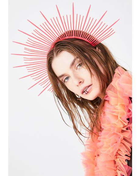 Neon UV Pink Mary Halo Crown