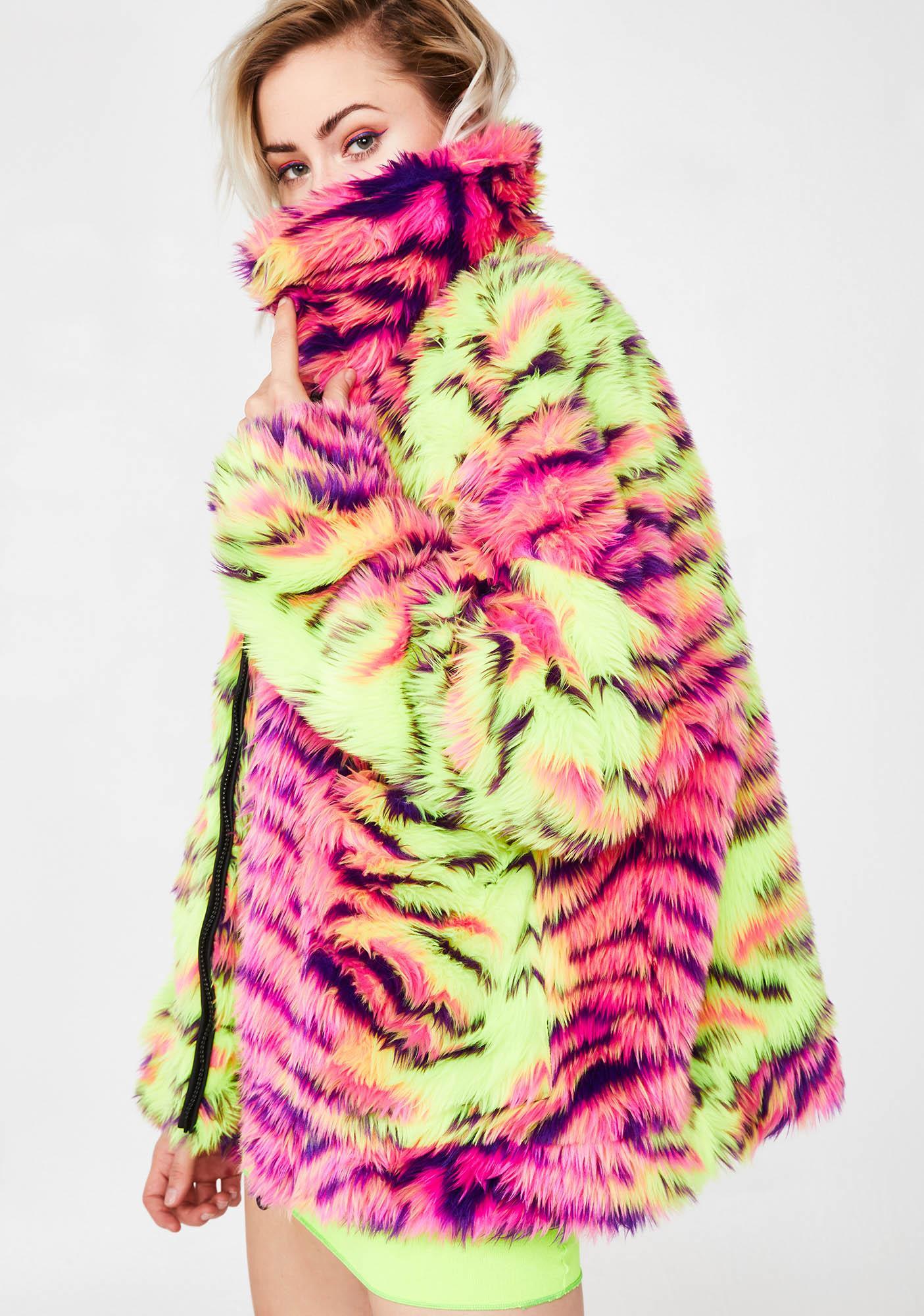Jaded London Neon Tiger Faux Fur Jacket