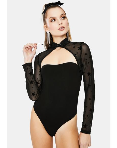 Bewitching High Neck Star Mesh Bodysuit