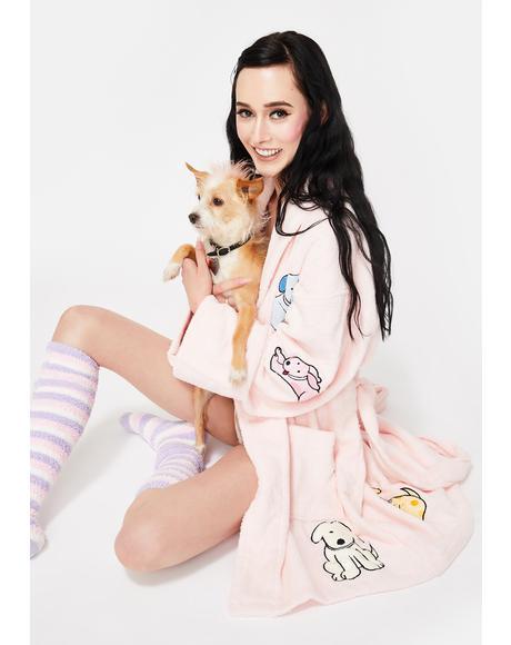 Playful Puppy Applique Short Robe