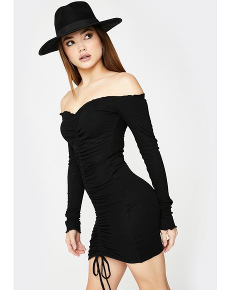 Black Angels Ruched Mini Dress