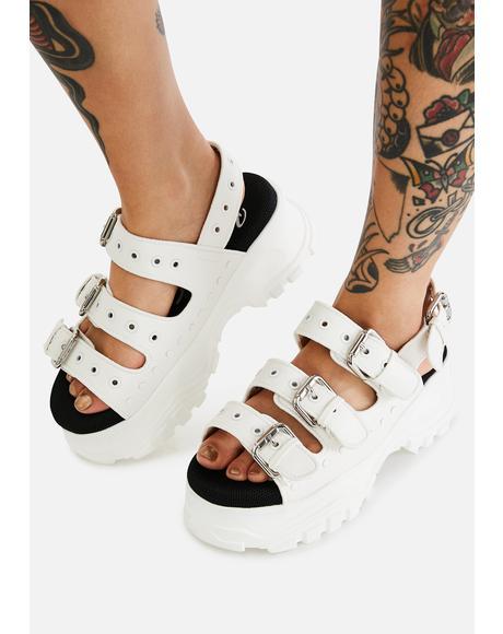 White GLDR OB Platform Sandals