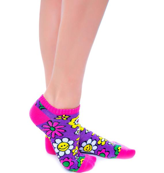 Flower Bomb Smile Sock