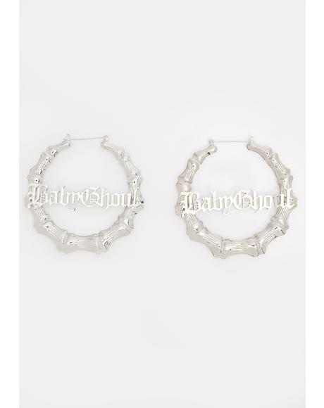 Baby Ghoul Bamboo Hoop Earrings