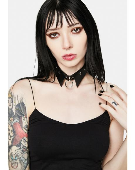 Grunge Luck Studded O-Ring Collar Choker