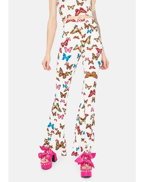 Wings Of Change Butterfly Print Flares