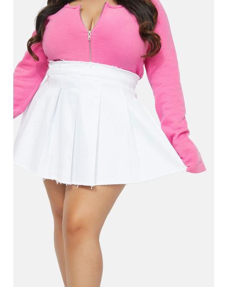 Atomic Far Out Clout Raw Hem Pleated Mini Skirt