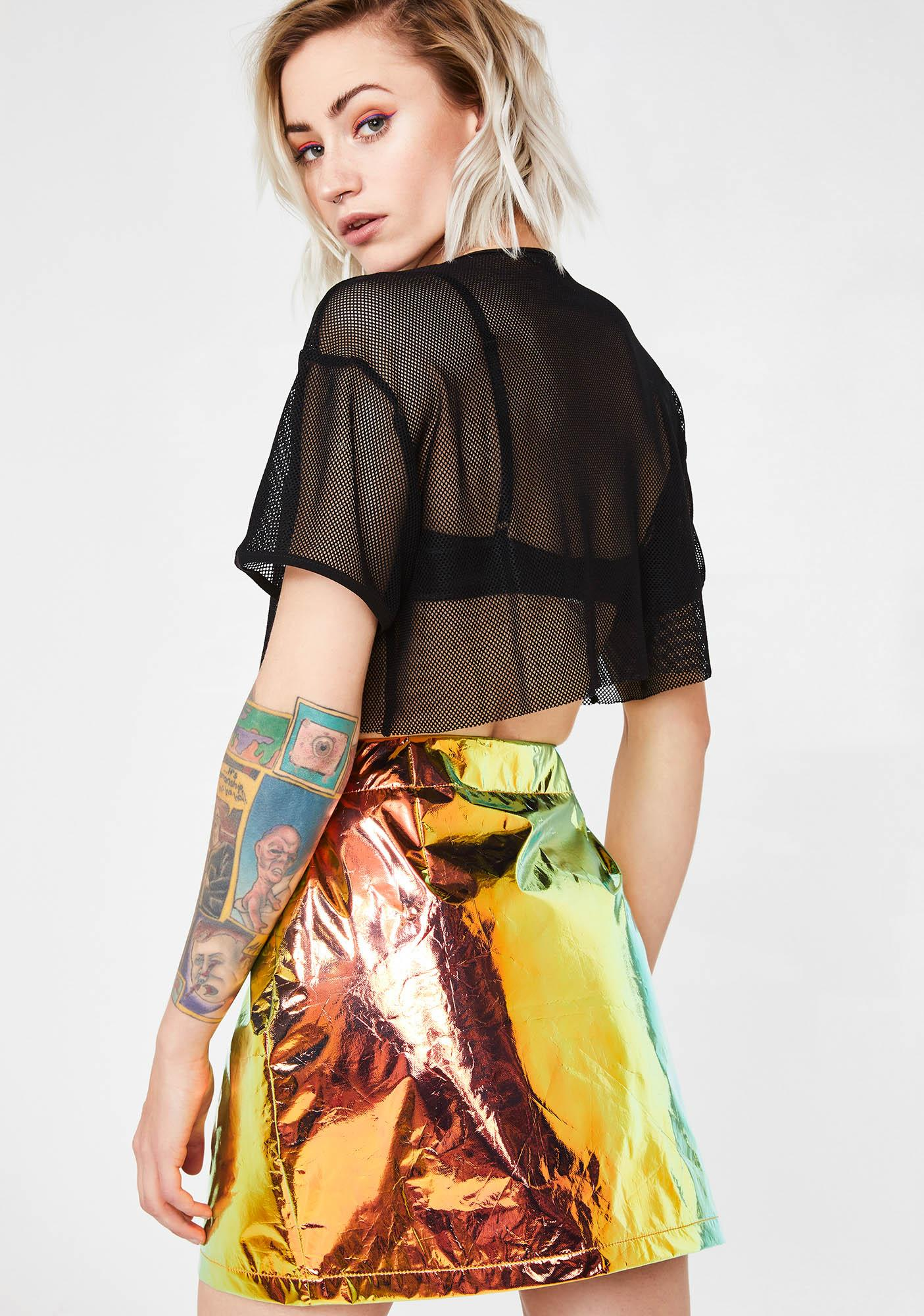 Jaded London Copper Crinkle Foil Mini Skirt