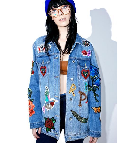 Kitsch Queen Patched Denim Jacket