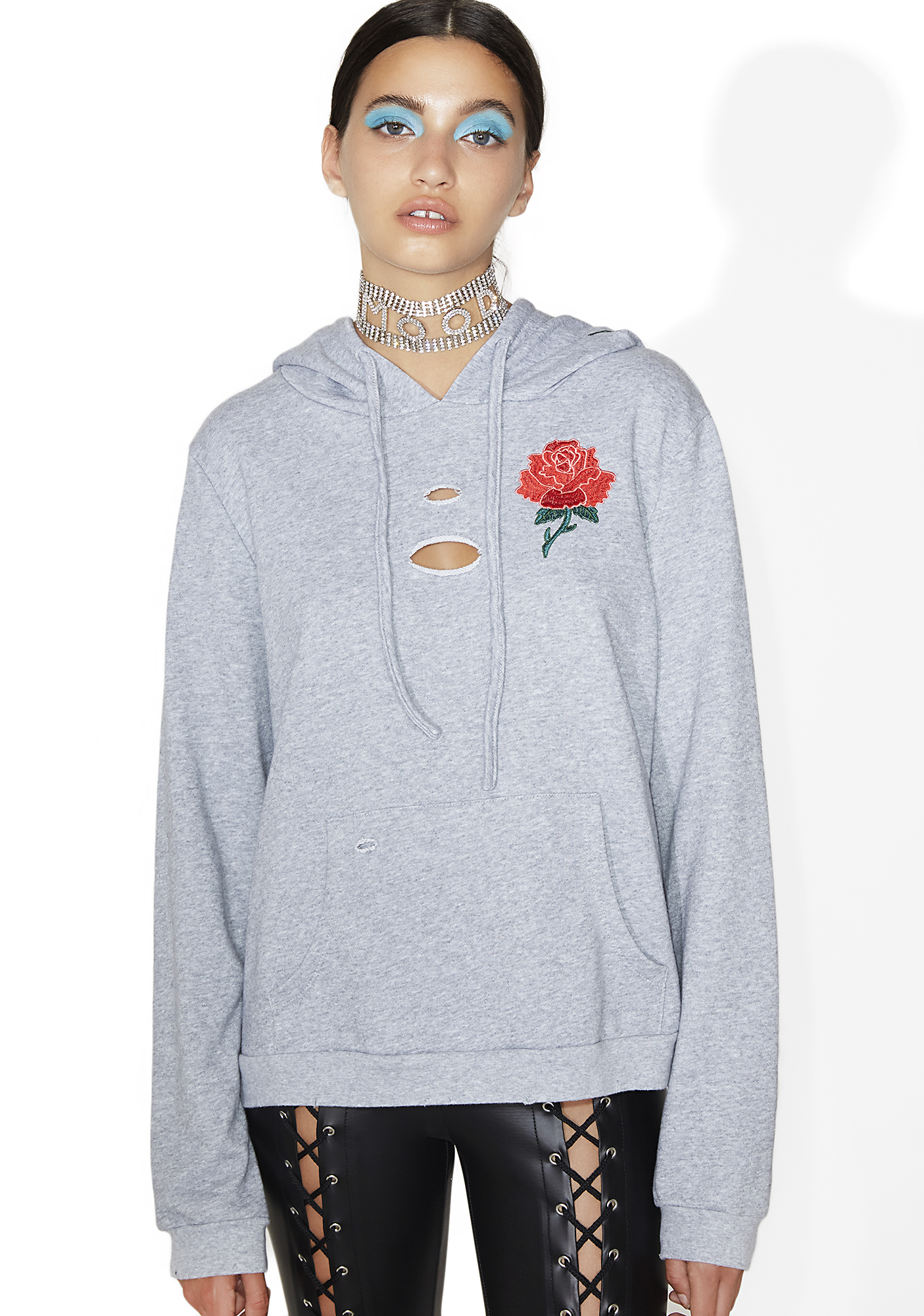 Embroidered Rose Distressed Pullover Hoodie Gray