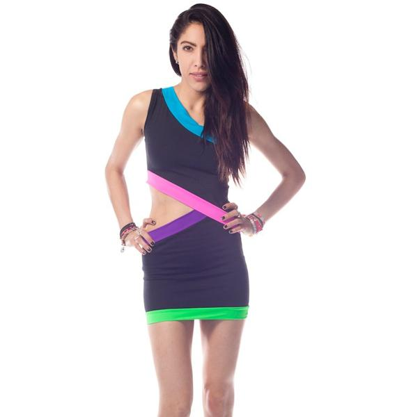 Quontum Neon Diagonal Cut Out Dress