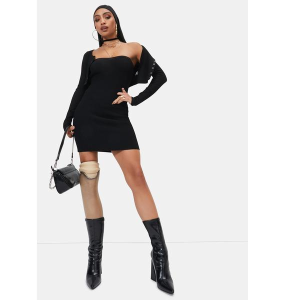 Night Pop To The Top Sweater Tube Dress
