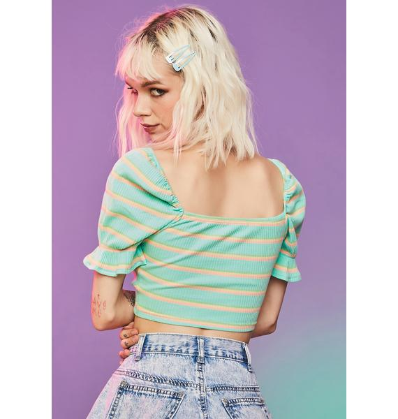 Mint Feel The Energy Lace Up Crop Top