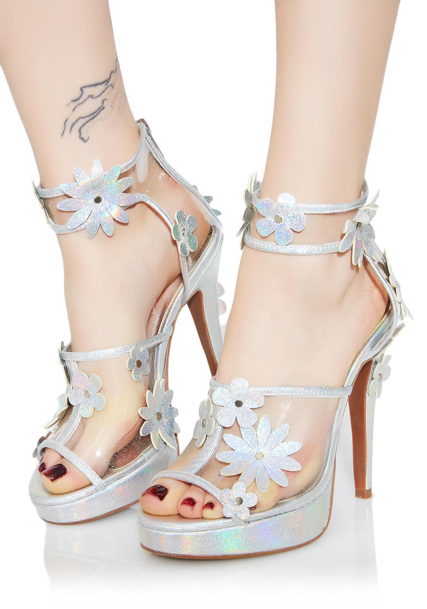 Metallic Garden Flower Heels
