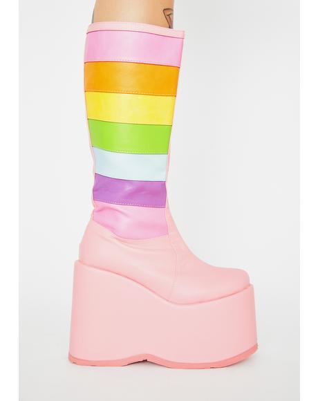 Unicorn Tea Party Platform Boots