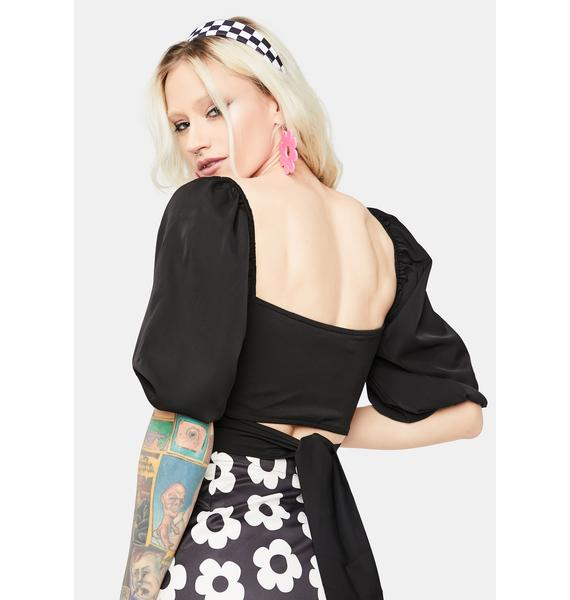 Night Perfect Poetry Puff Sleeve Crop Top