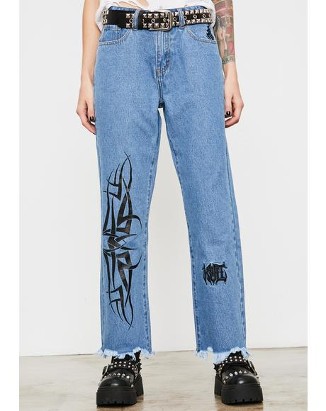 Death Growler Distressed Denim Jeans