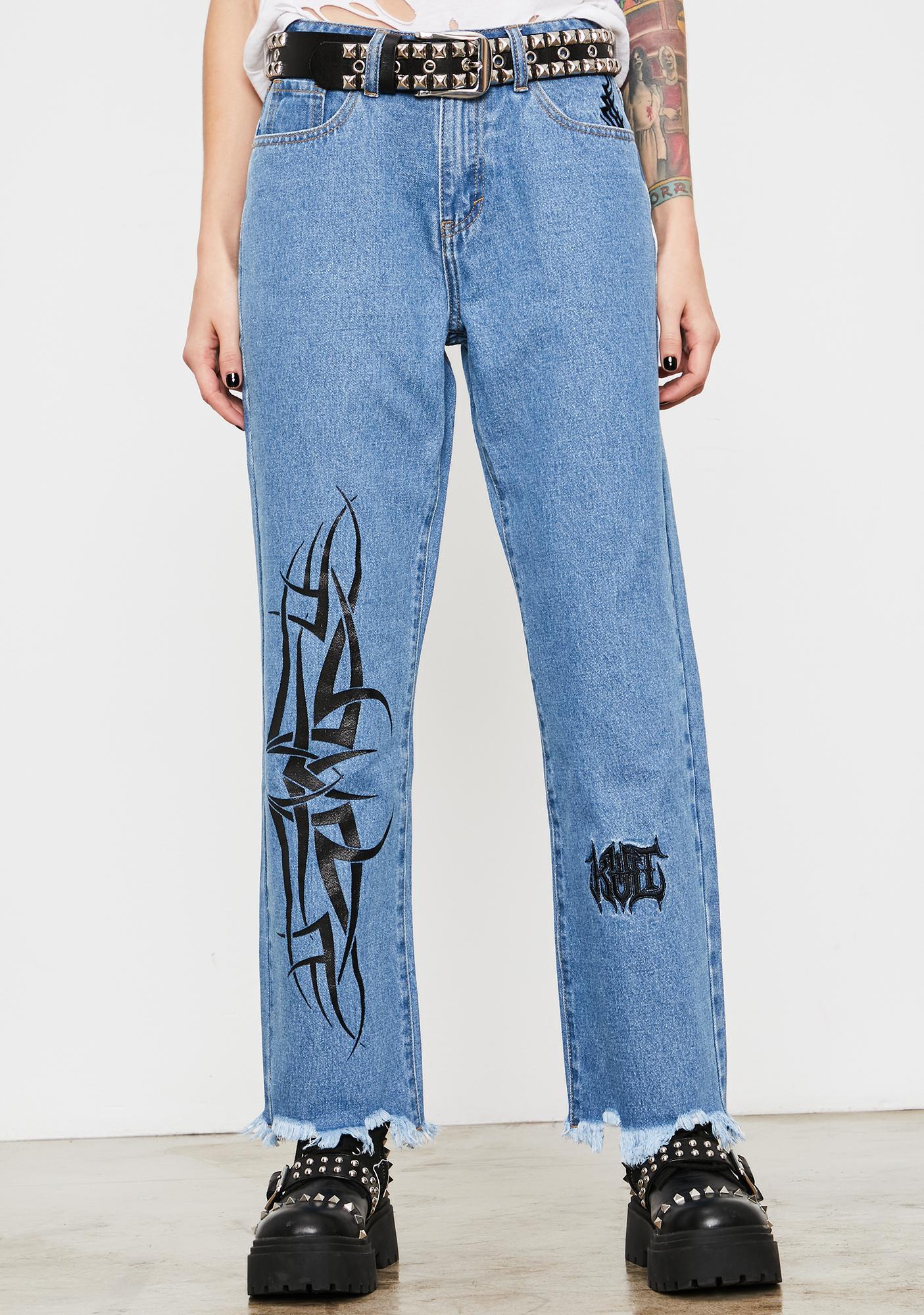 Current Mood Death Growler Distressed Denim Jeans