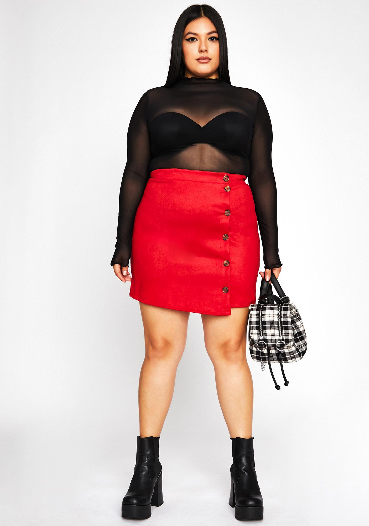 Spicy Buttons Pushed Mini Skirt