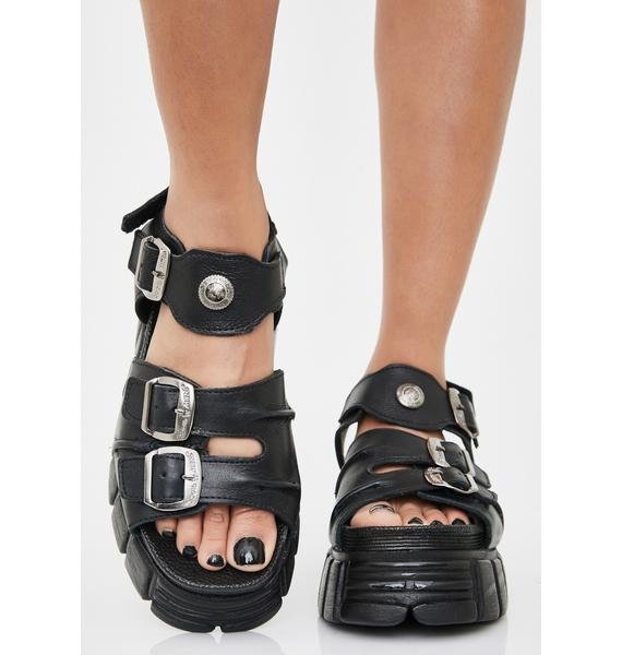 New Rock Black Blossoms Buckle Sandals