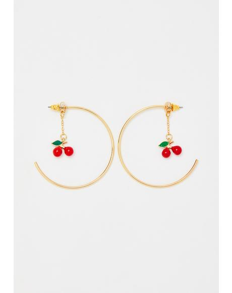 Cherry Divine Hoop Earrings