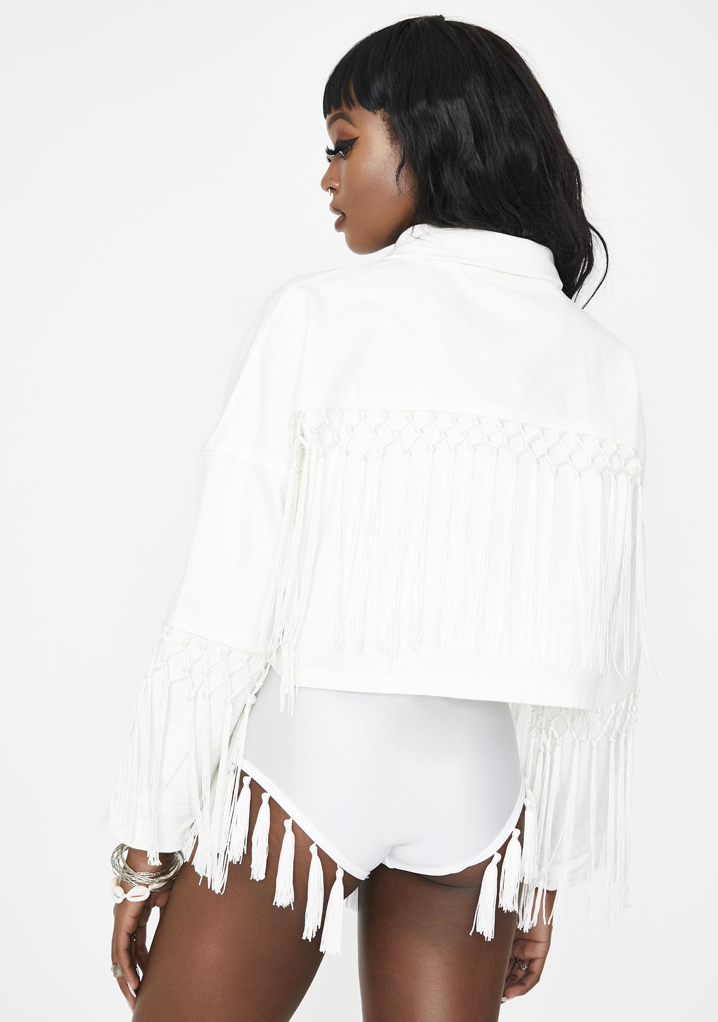EastnWest  White Farrah Denim Jacket