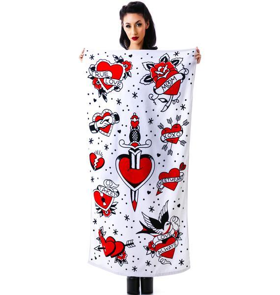 Sourpuss Clothing Tattoed Hearts Beach Towel