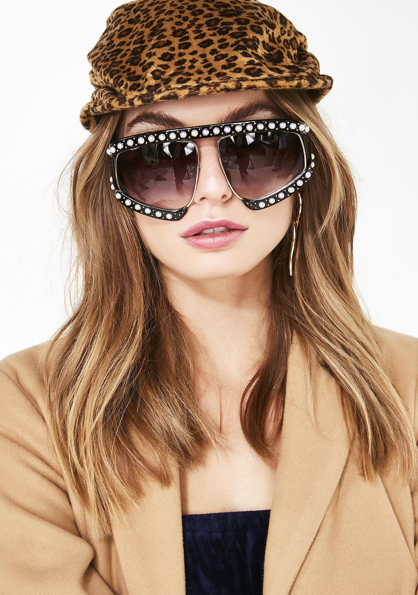 e589d1e8377 Pearl Embellished Oversize Tinted Sunglasses