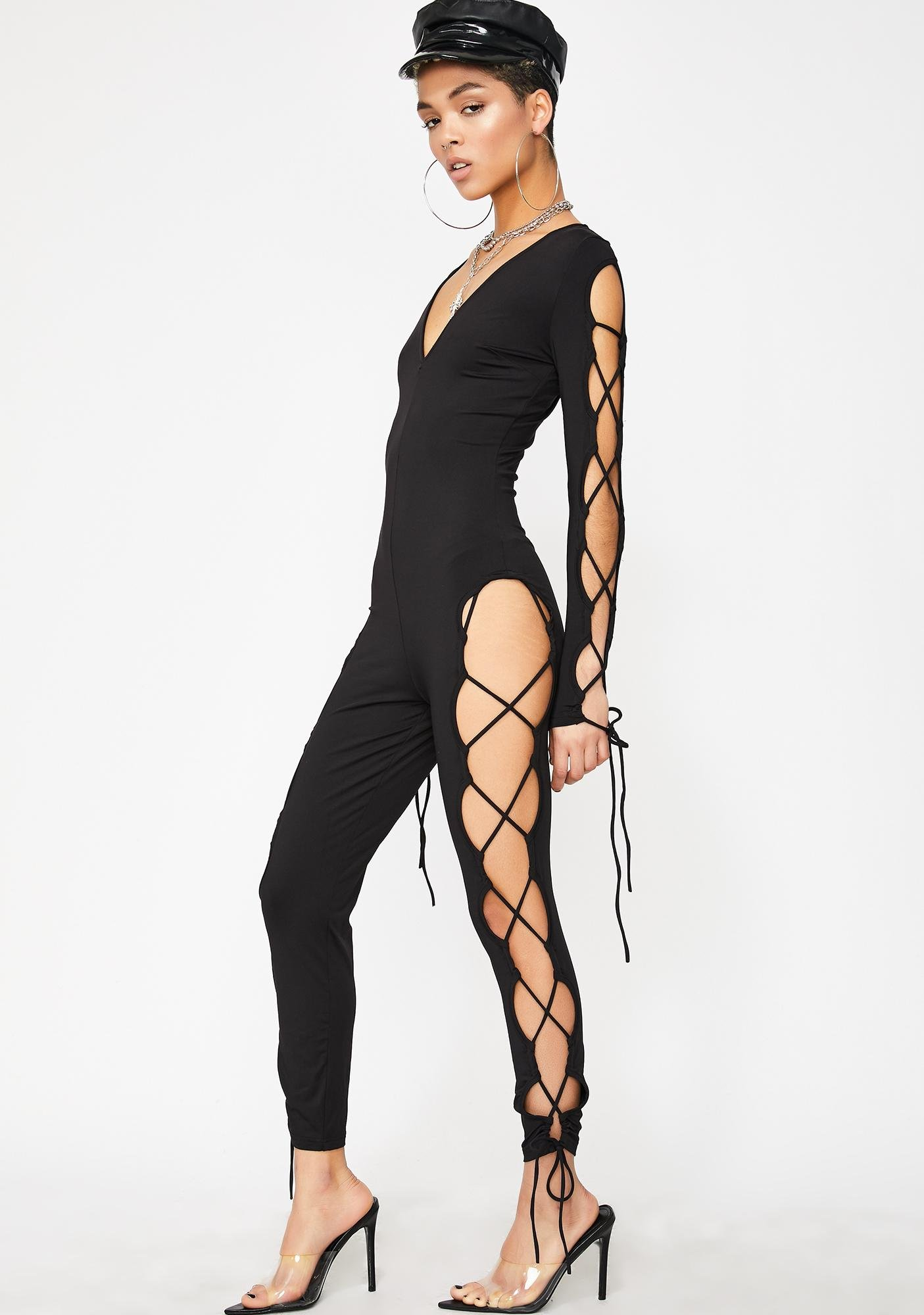 In Your Head Lace Up Jumpsuit