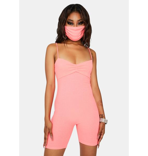 Heard It Here First Romper & Mask Set