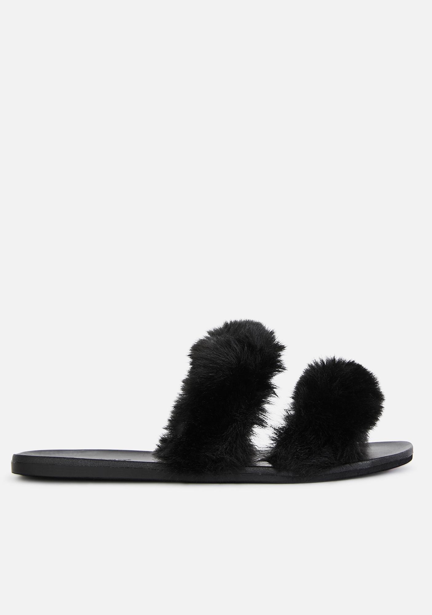 Hey Mailman Faux Fur Slides