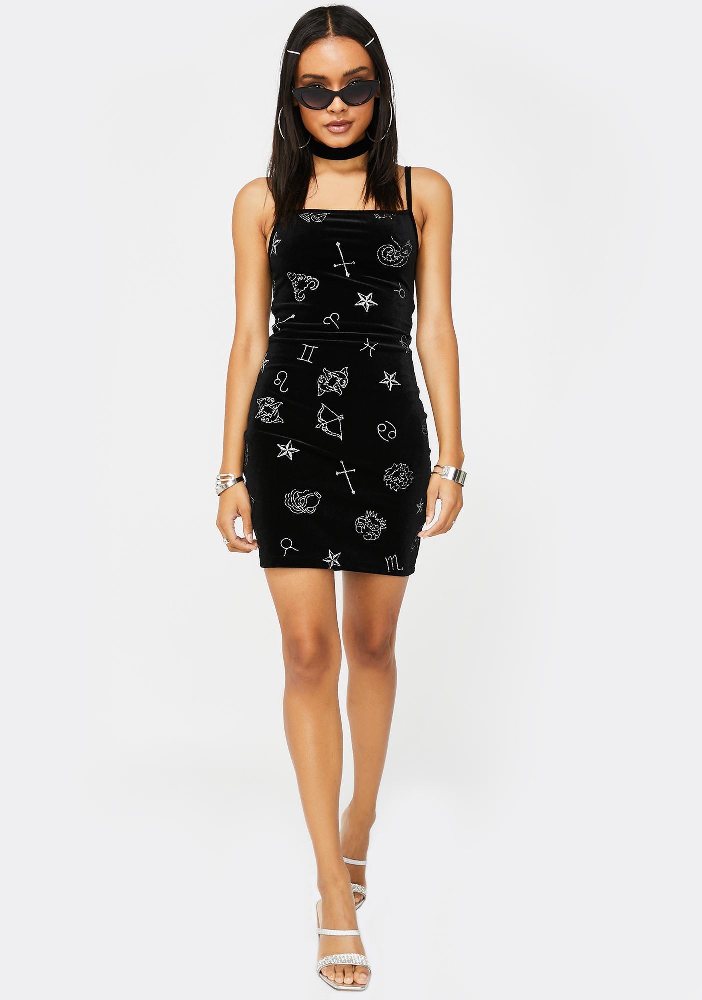 Motel Astro Glitter Selah Velvet Dress