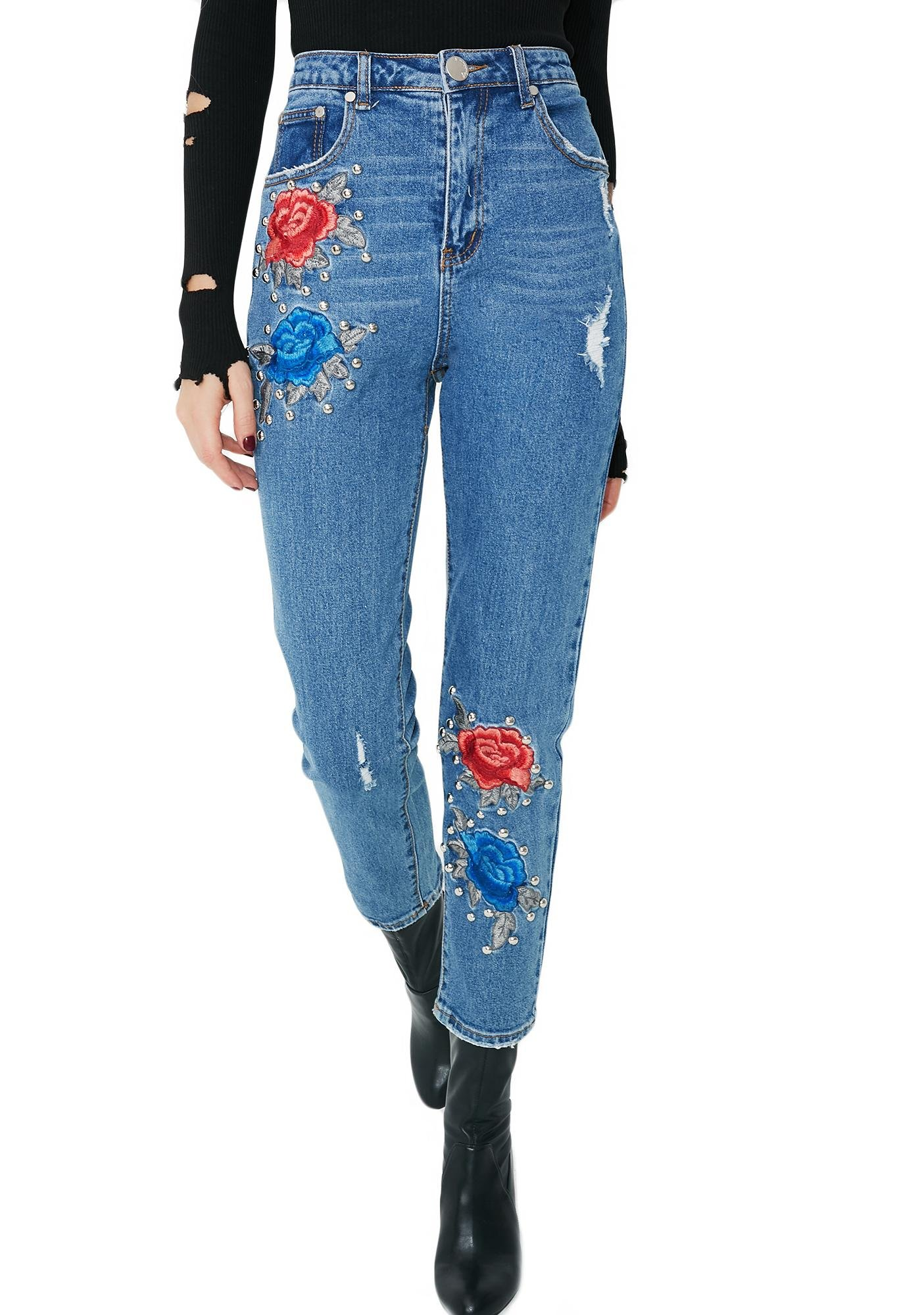 By My Side Floral Studded Jeans