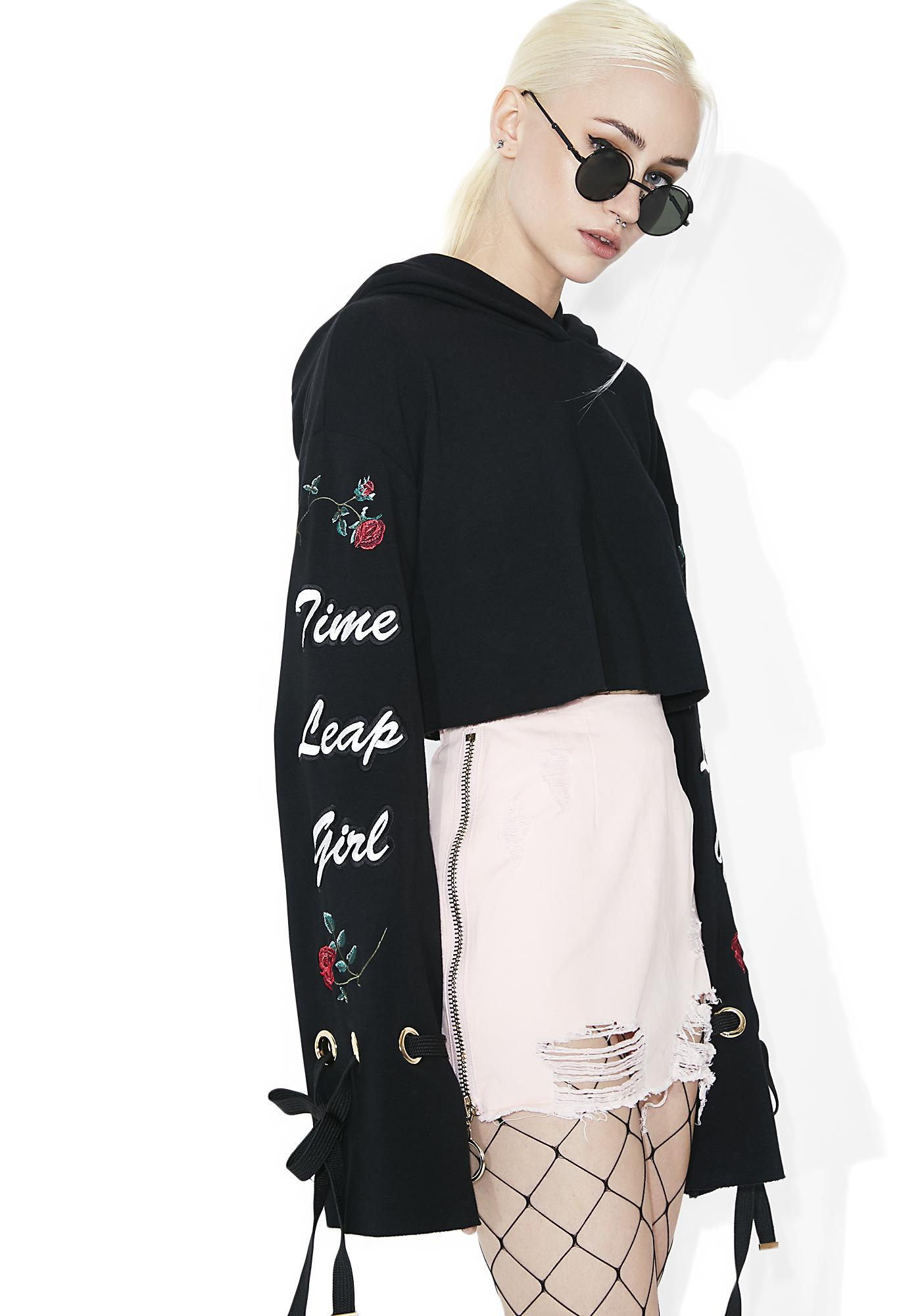 one spo Time Leap Girl Cropped Flare Hoodie