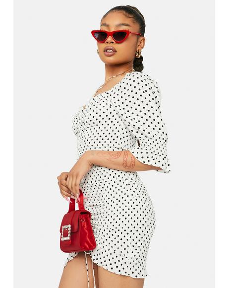 Ivory Sweet As Ever Polka Dot Puff Sleeve Dress