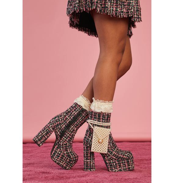 Sugar Thrillz Pish Posh Tweed Booties