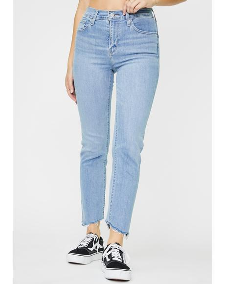 London Blue 724 High Rise Straight Crop Jeans