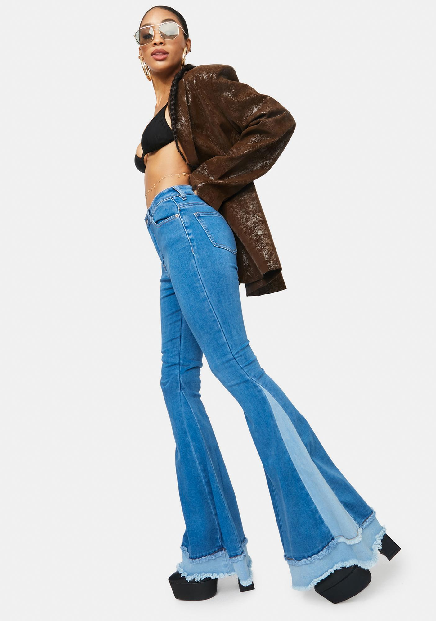 Fierce Fun Colorblock Layered Flare Jeans