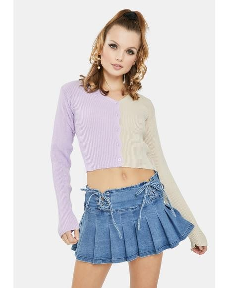 Lilac 90's Split Color Cropped Cardigan