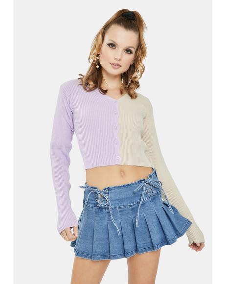 Lilac 90's Split Color Cropped Cardigan